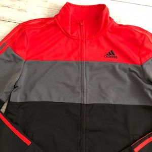 Adidas Red/ gray/ black color block track jacket